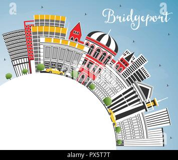 Bridgeport Connecticut City Skyline with Color Buildings, Blue Sky and Copy Space. Vector Illustration. Travel and Tourism Concept - Stock Photo