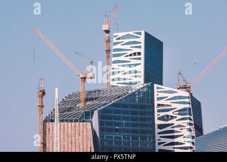 Riyadh, Saudi Arabia, KSA - September 22, 2018 new buildings being constructed in the new King Abdullah Financial District in Riyadh - Stock Photo