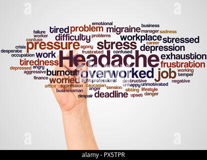 Headache word cloud and hand with marker concept on white background. - Stock Photo