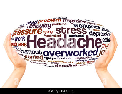 Headache word cloud hand sphere concept on white background. - Stock Photo