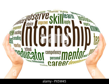 Internship word cloud hand sphere concept on white background. - Stock Photo