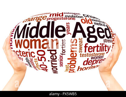 Middle aged woman word cloud hand sphere concept on white background. - Stock Photo