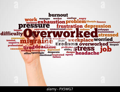 Overworked, word cloud and hand with marker concept on white background. - Stock Photo