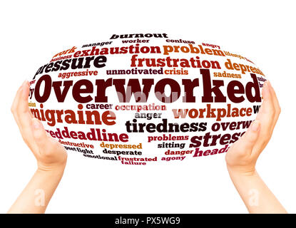 Overworked word cloud hand sphere concept on white background. - Stock Photo