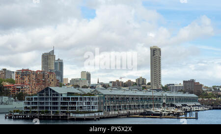 Finger Wharf redevelopment of wooden warehouses now Ovolo Hotel and residential apartments Sydney NSW Australia. - Stock Photo