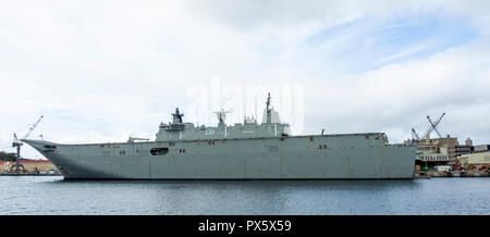 HMAS Adelaide L01 Canberra Class landing Helicopter dock at Garden Island Naval Precinct Sydney NSW Australia. - Stock Photo