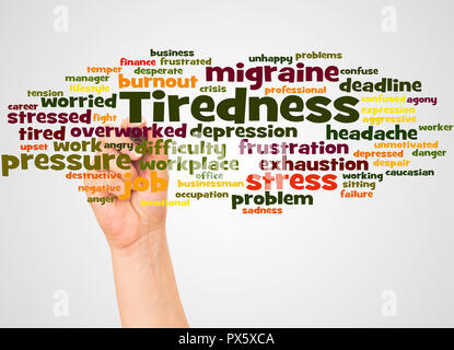 Tiredness word cloud and hand with marker concept on white background. - Stock Photo