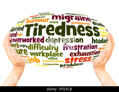Tiredness word cloud hand sphere concept on white background. - Stock Photo