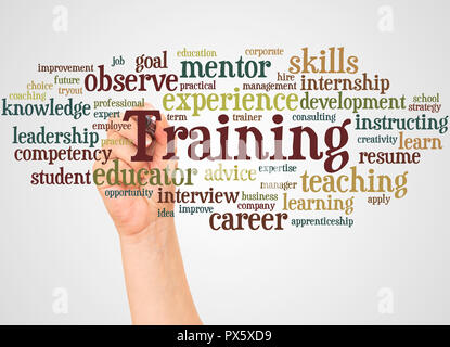 Training word cloud concept on and hand with marker white background. - Stock Photo