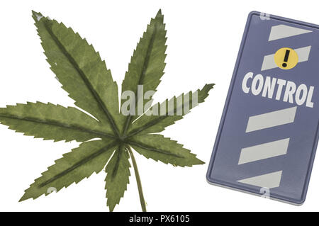 Cannabis leaves, symbol sign for state controle, legalisation, drug abuse - Stock Photo