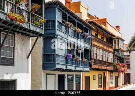 Famous Colorfull Houses in Santa Cruz de La Palma, Canary Islands - Stock Photo