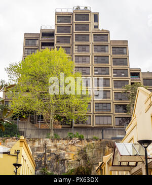 Sirius Building a Public Housing Commission block of apartments in Brutalist Architectural style in the Rocks Sydney NSW Australia. - Stock Photo