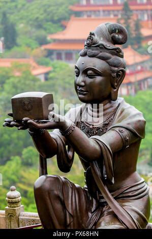 Tian Tan (Alter of heaven) The Big Buddha and Po Lin Monastery, Lantau Island, Hong Kong, China. - Stock Photo