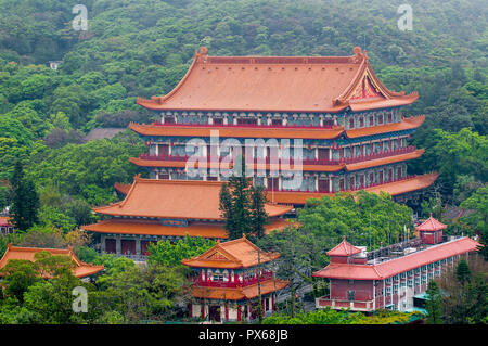 Grand Hall of Ten Thousand Buddhas at the The Big Buddha and Po Lin Monastery, Lantau Island, Hong Kong, China. - Stock Photo