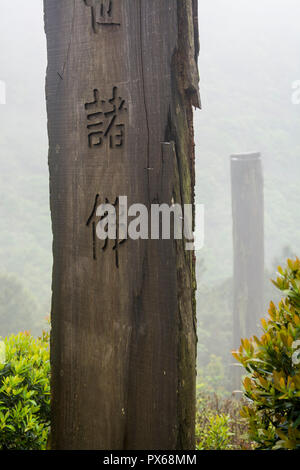 Tall wooden steles at the Wisdom Path, Lantau Island, Hong Kong, China. - Stock Photo