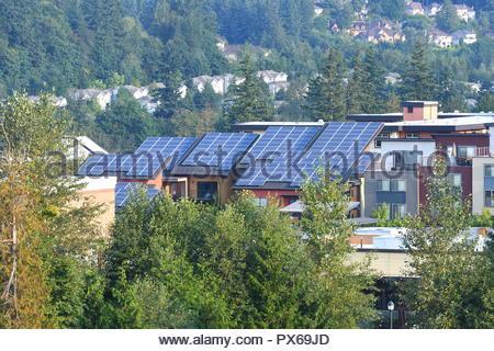Townhomes with Modern Solar Panels on Roof, Washington-USA - Stock Photo