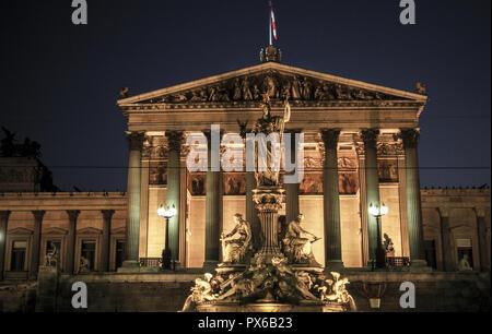 Parliament of Vienna, Austria, Vienna, 1. district, parliament - Stock Photo