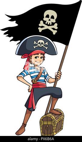 Pirate Boy Holding Flag - Stock Photo