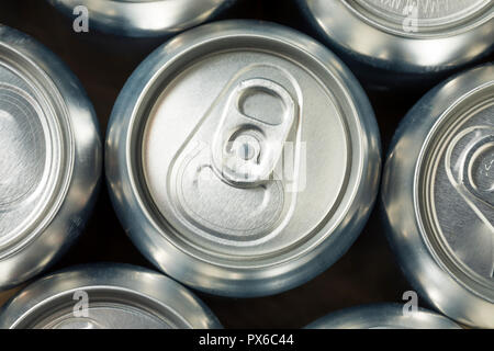 Shiny Silver Aluminum Soda Cans in a Group - Stock Photo