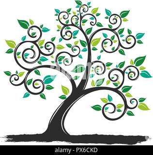 vector Illustration silhouette Tree with Roots in white background - Stock Photo