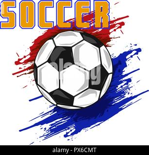 Silhouette of a football ball. Dots, lines, triangles, text, color effects and background on a separate layers, color can be changed in one click. Vector illustration - Stock Photo