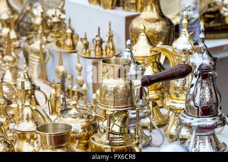 traditional brass utensils in Janadriyah festival essay in Saudi Arabia - Stock Photo