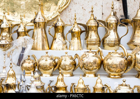 traditional brass utensils in Janadriyah festival essay in Saudi Arabia - Stock Photo