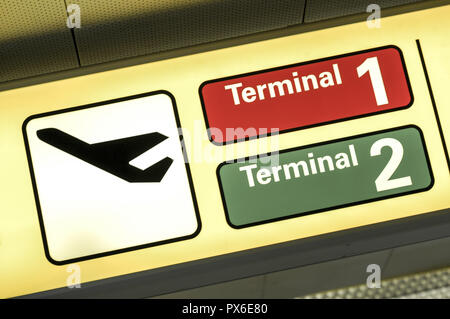 International Airport Vienna at Wien Schwechat, sign, Terminal 1, 2, Departure, Austria, Lower Austria, Vienna area, Schwechat - Stock Photo