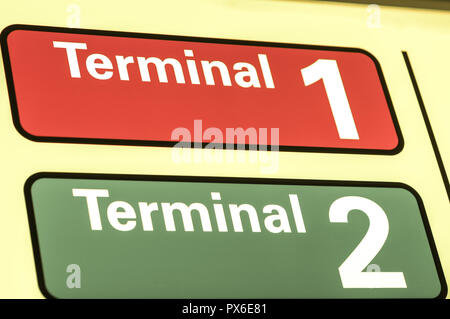 International Airport Vienna at Wien Schwechat, sign, Terminal 1, 2, Austria, Lower Austria, Vienna area, Schwechat - Stock Photo