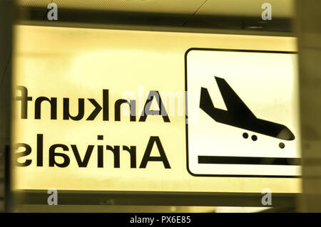 International Airport Vienna at Wien Schwechat, sign, Arrivals, Austria, Lower Austria, Vienna area, Schwechat - Stock Photo