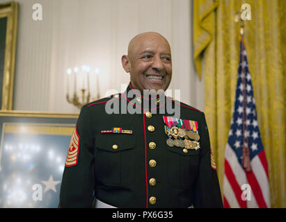 Medal of Honor recipient retired U.S. Marine Sgt. Maj. John Canley smiles during the presentation rehearsal in the East Room of the White House October 17, 2018 in Washington, DC. Canley received the nations highest honor for actions during the Battle of Hue in the Vietnam War.