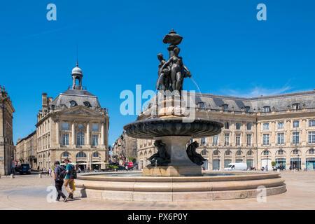 Place de la Bourse, Bordeaux, France, Europe - Stock Photo