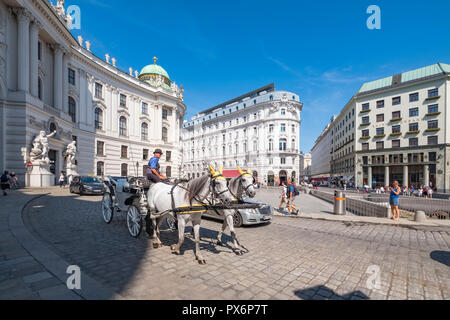 Old city walls in front of the Hofburg Imperial Palace, Vienna, Austria, Europe - Stock Photo