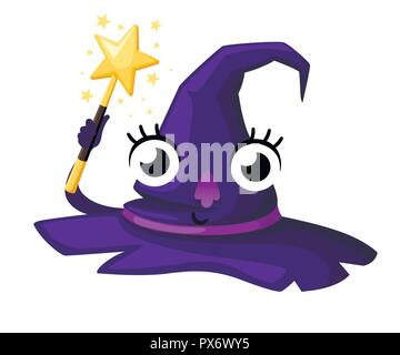 Purple witch hat. Halloween style hat. Cartoon character mascot. Design element for Halloween and cosplay. Flat vector illustration isolated on white  - Stock Photo
