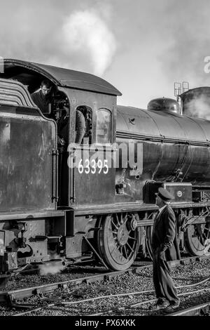 Black & white portrait close up of preserved steam engine 63395 on a working holiday from Yorkshire visiting Severn Valley Railway for the steam gala. - Stock Photo