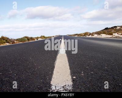 Lanzarote, Spain - June 2, 2017: Lanzarote, Spain - June 2, 2018: Road in the desert territory of the island - Stock Photo