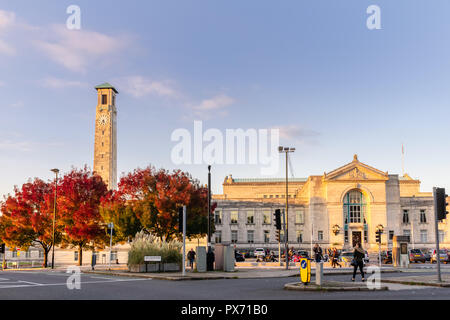 The Civic Centre with its prominent Clock Tower during autumn 2018 in the city centre of Southampton - street scene, Hampshire, England, UK - Stock Photo