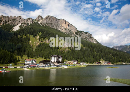 August 07, 2018: Misurina lake  is the largest natural lake of the Cadore in the Dolomites mountains.
