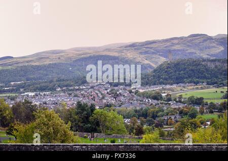 Stirling, Scotland, United Kingdom. Scenic view from Stirling Castle atop Castle Hill of Stirling and beyond to the Highlands beyond. - Stock Photo