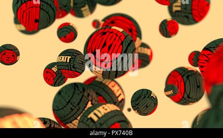 Large group of  orbs or spheres levitation in empty space. 3D rendering. Brexit tags cloud - Stock Photo