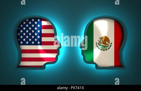 Image relative to politic and economic relationship between USA and Mexico. National flags inside the heads of the businessmen. Teamwork concept. 3D r - Stock Photo