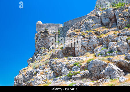 The venetian fortress of Fortezza on the hill at the old town of Rethimno, Crete, Greece. - Stock Photo