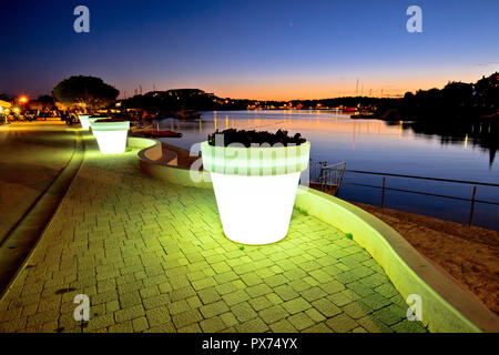Pjescana uvala near Pula coast evening view, Istria region of Croatia - Stock Photo