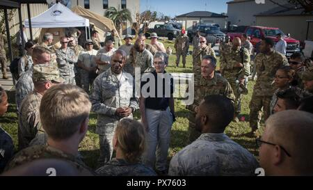 Air Force senior leaders speak with Airmen at Tyndall Air Force Base, Florida, Oct. 14, 2018, October 14, 2018. Air Force senior leaders toured Tyndall Air Force Base to assess the damage from Hurricane Michael, one of the most intense tropical cyclones to ever hit the U.S. (U.S. Air Force photo by Senior Airman Joseph Pick). () - Stock Photo