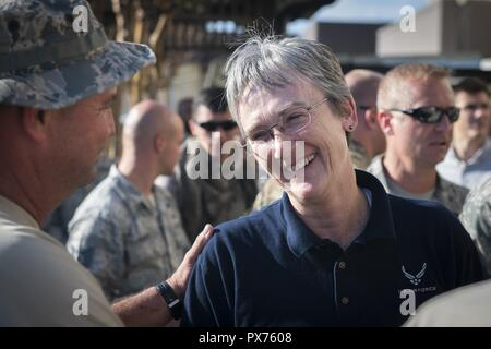 Secretary of the Air Force Heather Wilson speaks with Airmen at Tyndall Air Force Base, Florida, Oct. 14, 2018, October 14, 2018. Air Force senior leaders toured Tyndall Air Force Base to assess the damage from Hurricane Michael, one of the most intense tropical cyclones to ever hit the U.S. (U.S. Air Force photo by Senior Airman Joseph Pick). () - Stock Photo