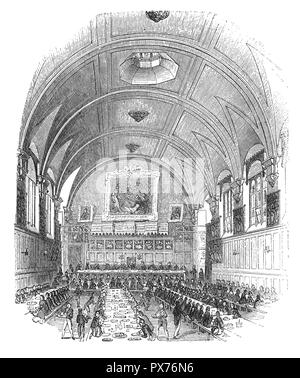 The Hall of the Honourable Society of Lincoln's Inn, one of the four Inns of Court in London to which barristers of England and Wales belong and where they are called to the Bar. (The other three are Middle Temple, Inner Temple and Gray's Inn.) Lincoln's Inn is recognised to be one of the world's most prestigious professional bodies of judges and lawyers. It is situated in Holborn, in the London Borough of Camden, just on the border with the City of London and the City of Westminster. - Stock Photo