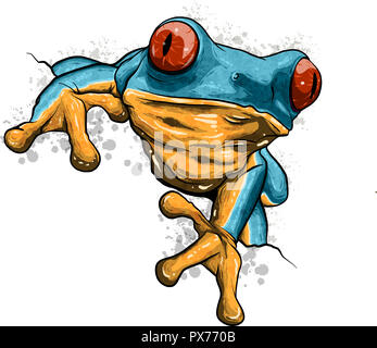 A cartoon frog mascot character pointing with his finger - Stock Photo