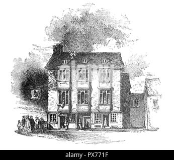 The Falcon Inn in Southwark, on the south bank of the Thames, London, England, was a house of great business and the place from whence coaches went to all parts of Kent, Surrey and Sussex.  The area was the entertainment centre of London during the Tudor and Stewart periods, every form of artistic pursuit, and vice, could be found here. Theatres such as the Rose, Swan, Globe and Hope sprang up  and playwrights of the stature of Marlowe and Shakespeare became celebrities and the Falcon became the daily resort of Shakespeare and his dramatic companions. - Stock Photo