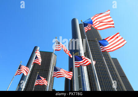 The skyscrapers of the Renaissance Centre, on Detroit's Riverfront, owned by General Motors as it's world HQ, in Michigan, USA - Stock Photo