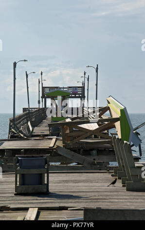 Some of the damage to the Bouge Inlet Fishing Pier from Hurricane Florence - Stock Photo